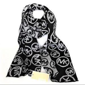 Michael Kors Black & Gray Large Logo Scarf
